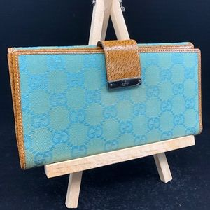 GUCCI GG LOGO  TEAL TURQUOISE Canvas LONG WALLET